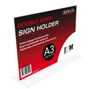Deflecto Sign Menu Holder Landscape Double Sided A3 Clear