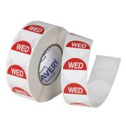 Avery Food Rotation Wednesday Day Label Removable Adhesive Red 24mm Round Roll 1000