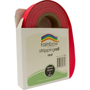 Rainbow Stripping Streamer Roll 25mmx30mm Red