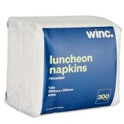 Winc Luncheon Napkin Recycled 1 Ply White 300 x 300mm Pack 300