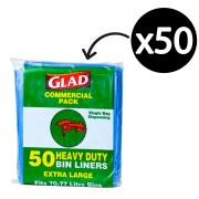 Glad Bin Liner Heavy Duty 70-77 Litre 20Um Blue Pkt50