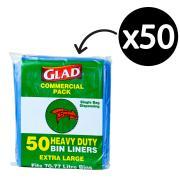 Glad Bin Liner Heavy Duty 70-77 Litre 20Um Blue Pack 50