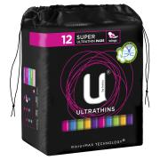 U By Kotex Ultrathin Pads Super with Wings Pack 12 Carton Of 6