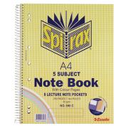 Spirax 596C 5-Subject Notebook Side Opening Perforated A4 250 Page Coloured