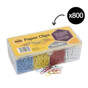 Marbig Paper Clips Assorted Colours Box 800