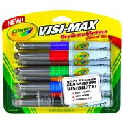 Crayola Visi-Max Dry Erase Chisel Tip Coloured Markers Assorted Pack 8