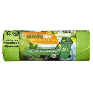 Envirostar 80 Litre Green Compostable Bin Liner 23um Printed Roll 20 Carton 10
