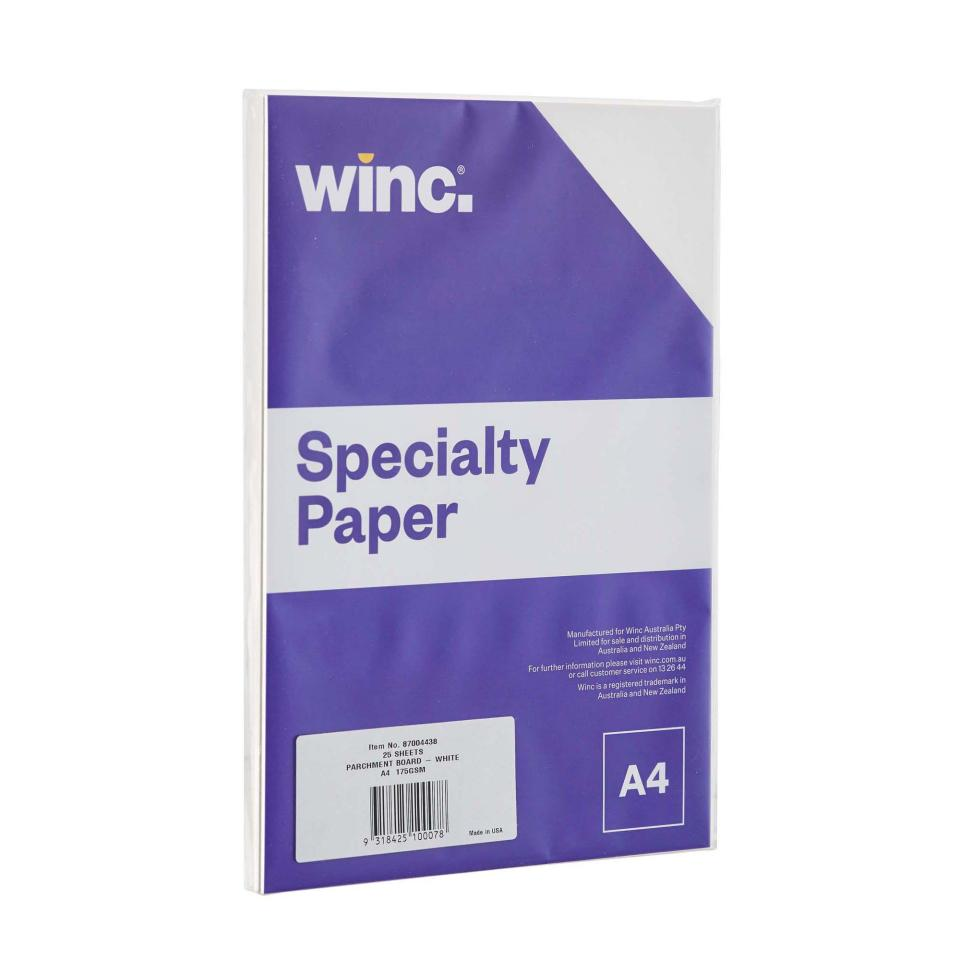 Winc Specialty Paper Parchment Board A4 175gsm White Pack 25
