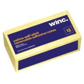 Winc Self-Stick Removable Notes 34X47mm Yellow 12 Pads Pack