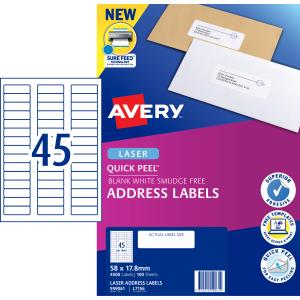 Avery Address Labels with Quick Peel for Laser Printers - 58 x 17.8mm - 4500 Labels (L7156)