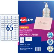 Avery Frosted Clear Address Labels for Inkjet Printers - 38.1 x 21.2mm - 1625 Labels (J8551)