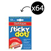 Sellotape Sticky Dots 10mm Permanent Adhesive Clear Pack 64