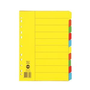 Marbig 37200 Divider Manilla A4 Bright Coloured 10 Tab