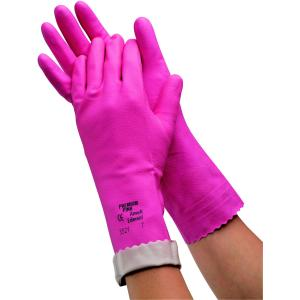 Ansell 3521 Premium Pink Silver Lined Pair Rubber Gloves Size 7 Pack 12