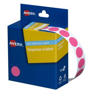 Avery Pink Circle Dispenser Labels - 14mm diameter - 1050 Labels