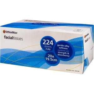 Officemax 2 Ply Facial Tissues 20x19.5cm 224 Sheets Carton/24