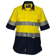 Prime Mover Lws8009A Ladies 100% Cotton Drill 155gsm Short Sleeve Shirt W/Tape Yellow/Navy 10
