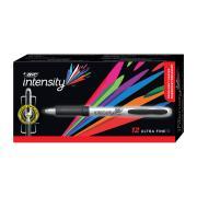 Bic Intensity Grip Permanent Marker Ultra Fine Black Box 12