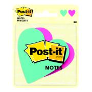 Post-It Notes Heart Shaped Emerald Mulberry 76 x 76mm Pack 2
