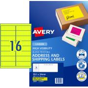 Avery Fluoro Yellow Shipping Labels for Laser Printers - 99.1 x 34mm - 400 Labels (L7162FY)