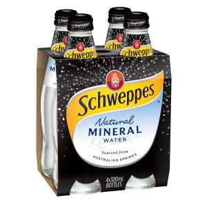 Schweppes Natural Mineral Water 300ml Bottle Pack 4