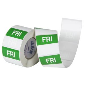 Avery Food Rotation Friday Day Label Removable Adhesive Green 40mm Square Roll 500