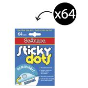 Sellotape Sticky Dots 10mm Removable Adhesive Clear Pack 64