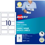 Avery Fabric Print & Divide Name Badges Labels for Laser Printers - 88 x 52mm - 150 Labels (L7427)