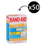 Adhesive Band-Aid Strips Assorted Shapes Pack of 50