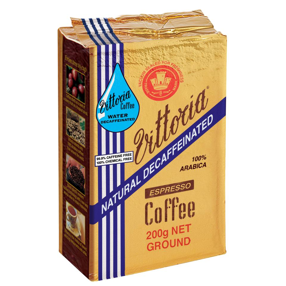 Vittoria Decaffeinated Espresso Ground Coffee 200g