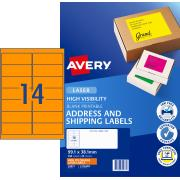 Avery Fluoro Orange Shipping Labels for Laser Printers - 99.1 x 38.1mm - 350 Labels (L7163FO)