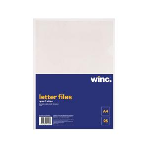 Winc Letter File A4 Open 2 Sides Clear Pack 25