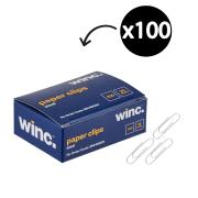 Winc Steel Paper Clips 28mm Box of 100