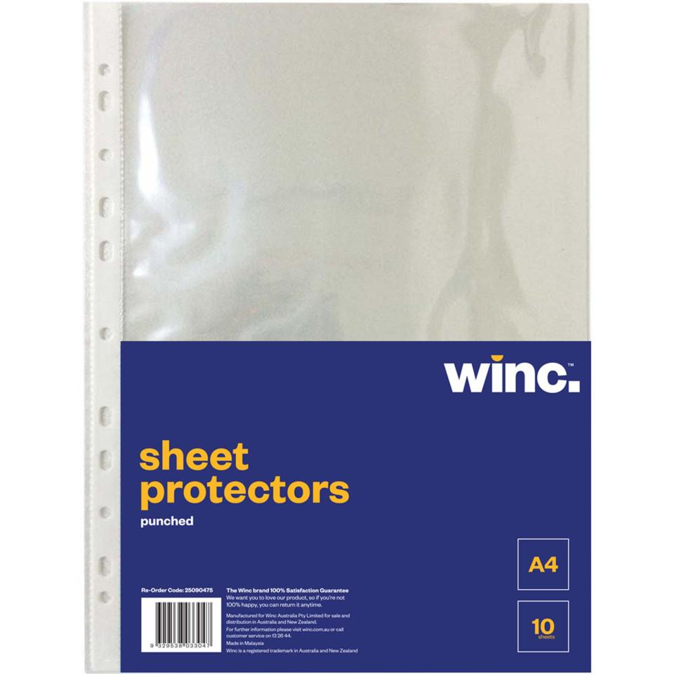 Winc Sheet Protector A4 Punched Pack 10