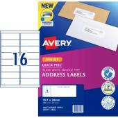 Avery Address Labels with Quick Peel for Inkjet Printers - 99.1 x 34mm - 400 Labels (J8162)