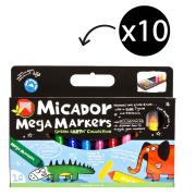 Micador Mega Markers Coloured Markers Assorted Pack 10
