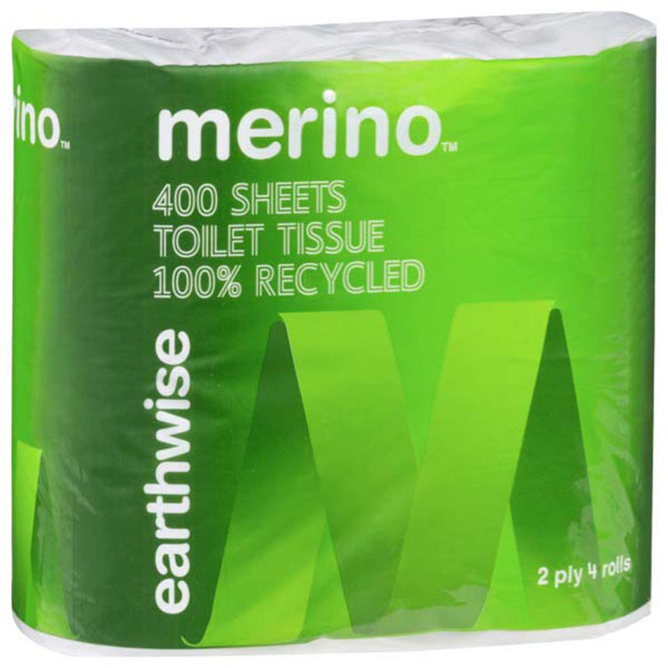 Merino Earthwise Recycled Toilet Tissue Paper 2 Ply Pack Of 4