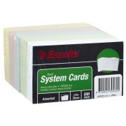 Esselte System Ruled 127 x 76mm Cards Assorted Pack 500