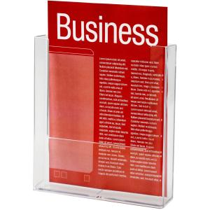 Esselte Brochure Holder Wall Mount 1 Tier 1 Compartment Portrait A4 Clear