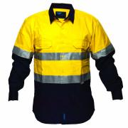 Chnc1001A Flame Retardant Cotton Drill Shirt With 3m Reflective Tape Yellow/Navy XL