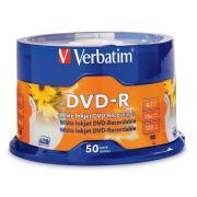 Verbatim White Inkjet Printable DVD-R 4.7 GB / 16x / 120 Min - 50-Pack Spindle