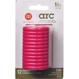 M By Staples ARC System 38mm Rings Notebook Expansion Disc Pink 12/Pack