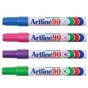 Artline 90 Permanent Marker Chisel Tip 2.0-5.0mm Assorted Bright Colours Box 12