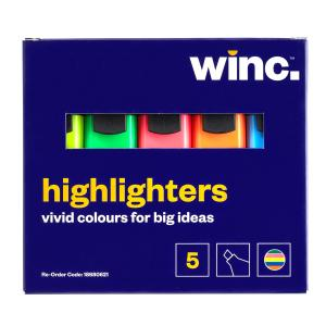 Winc Chisel Tip 2.0-5.0mm Highlighter Assorted Colours Box 5