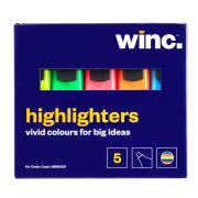 Winc Highlighter Chisel Tip 2.0-5.0mm Assorted Colours Box 5