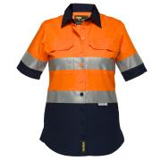 Prime Mover Lws8009A Ladies 100% Cotton Drill 155gsm Short Sleeve Shirt W/Tape Orange/Navy