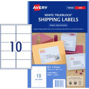 avery shipping labels with trueblock for laser printers 99 1 x 57