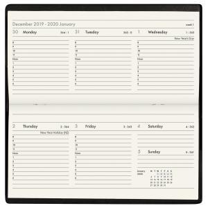Milford Cobalt 2020 Pocket Diary Slimline Landscape Week to View Black