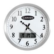 Carven Wall Round Clock with Digital LCD Calendar Display Grey