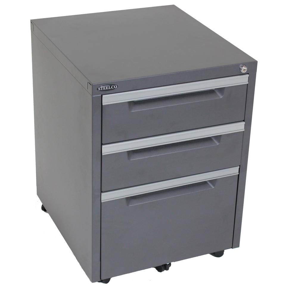 Steelco Mobile Pedestal 2 Drawer + 1 Filing Lockable 630h x 470w x 515dmm Image